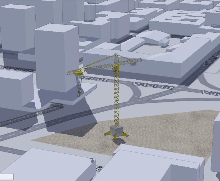 3D épületek és egy daru