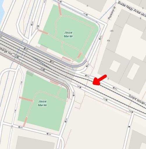 Jászai Mari tér térképrészlet az új zebrával